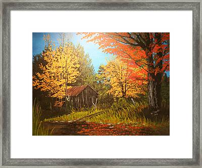 Framed Print featuring the painting Autumns Rustic Road by Wendy Shoults