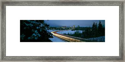 Autumobile Lights On Busy Street Framed Print by Panoramic Images