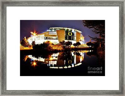 Autzen At Night Framed Print by Michael Cross