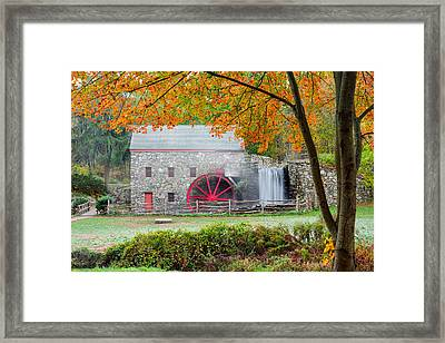 Auutmn At The Grist Mill Framed Print by Michael Blanchette