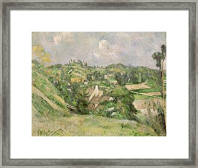 Auvers-sur-oise, Seen From The Val Harme Framed Print by Paul Cezanne