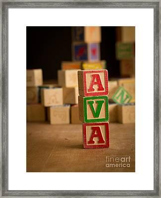 Ava - Alphabet Blocks Framed Print by Edward Fielding