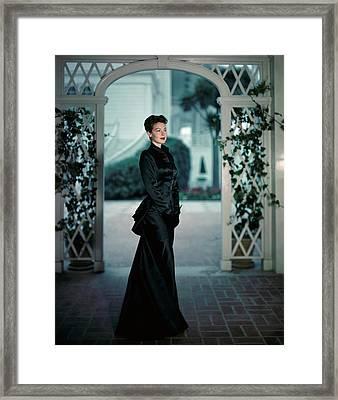 Ava Gardner Wearing A Long Satin Gown Framed Print