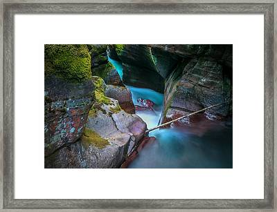 Avalanche Gorge Glacier National Park Painted   Framed Print by Rich Franco