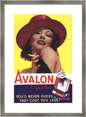 Avalon 1930s Usa Glamour Cigarettes Framed Print by The Advertising Archives