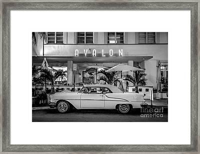 Avalon Hotel And Oldsmobile 88 - South Beach - Miami - Black And White Framed Print