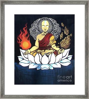 Avatar Aang Buddha Pose Framed Print by Jin Kai
