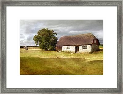 Avebury Cottage Tree And Standing Stone Framed Print by Menega Sabidussi