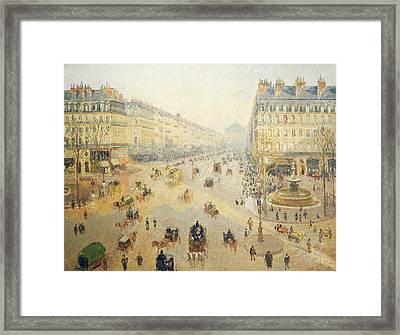 Avenue De L'opera In Paris Framed Print by Camille Pissarro