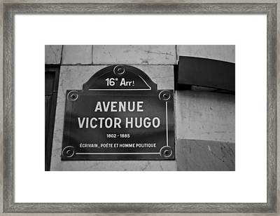 Avenue Victor Hugo Paris Road Sign Framed Print by Georgia Fowler