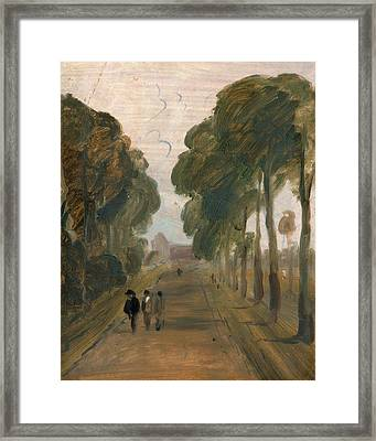 Avenue With Figures, Unknown Artist, 19th Century Framed Print by Litz Collection