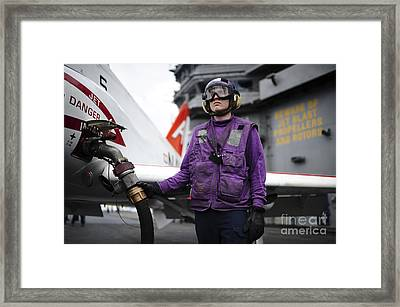 Aviation Boatswains Mate Fuels A T-45c Framed Print by Stocktrek Images