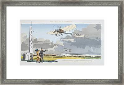 Aviation Meeting At Champagne Framed Print by Marguerite Montaut