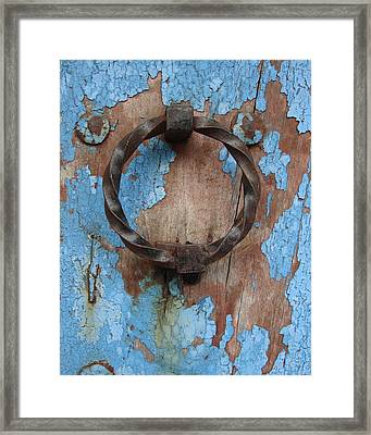 Framed Print featuring the photograph Avignon Door Knocker On Blue by Ramona Johnston
