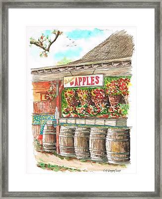 Avila Valley Barn With Delicious Apples Sign In Avila Beach - California Framed Print
