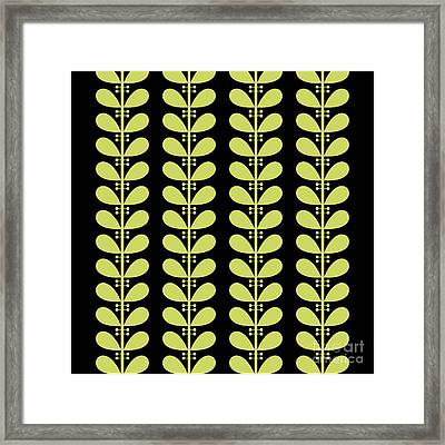 Avocado Leaves On Black Pillow Framed Print by Donna Mibus