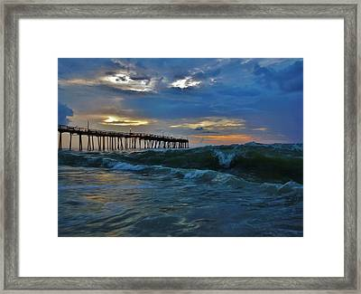Avon Pier Sunrise Storm Wave 6/12/2014 Framed Print by Mark Lemmon