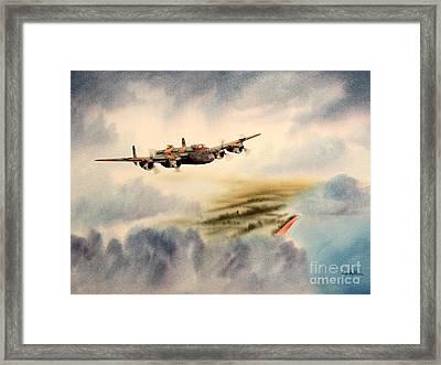 Avro Lancaster Over England Framed Print by Bill Holkham