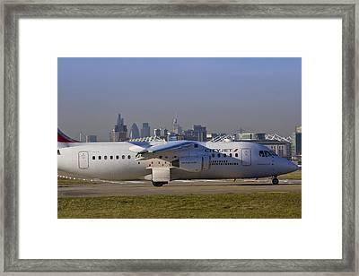 Avro Rj85 Jet London Framed Print by David Pyatt