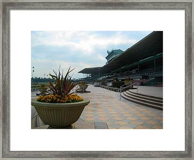 Awaiting The Crowd At Santa Anita Park Framed Print