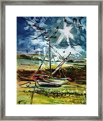 Awaiting The Tide Framed Print by William Rowsell