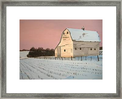 Award-winning Original Acrylic Painting - Nebraska Barn Framed Print by Norm Starks