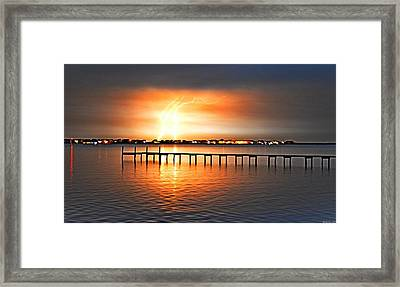 Awesome Lightning Electrical Storm On Sound Framed Print by Jeff at JSJ Photography