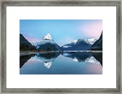 Awesome Sunrise At Milford Sound, New Framed Print by Matteo Colombo