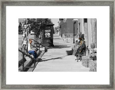 Awkward Conversation Framed Print