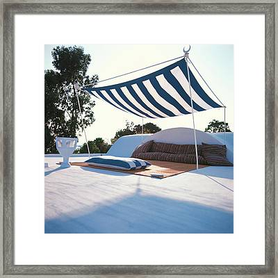 Awning At The Vacation Home Of Gaston Berthelot Framed Print by David Massey