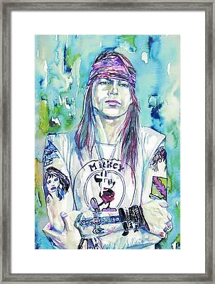 Axl Rose Portrait.1 Framed Print by Fabrizio Cassetta