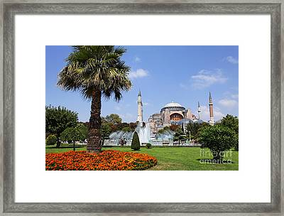 Aya Sofya And Gardens Istanbul Framed Print by Robert Preston