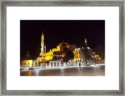 Aya Sophia In Istanbul Turkey At Night Framed Print by Raimond Klavins