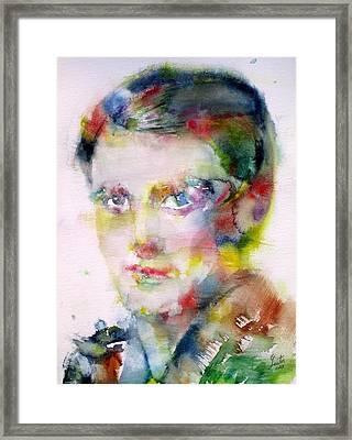 Ayn Rand - Watercolor Portrait Framed Print