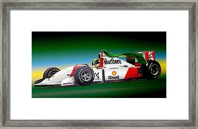 Ayrton Senna Art Framed Print by Alain Jamar