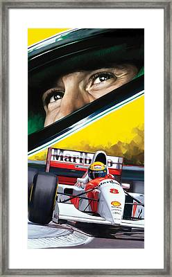 Ayrton Senna Artwork Framed Print by Sheraz A