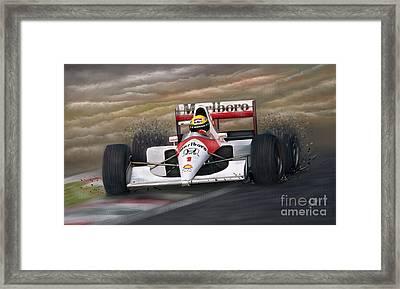 Ayrton Senna Framed Print by Linton Hart
