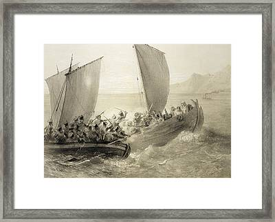 Azov Cossacks Boarding A Turkish Corsair Framed Print by Grigori Grigorevich Gagarin