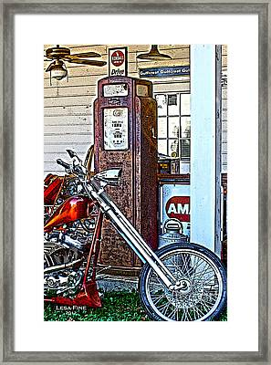 Framed Print featuring the photograph Aztec And The Gas Pump by Lesa Fine