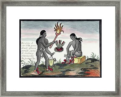 Aztec Blood Sacrifices Framed Print by Library Of Congress