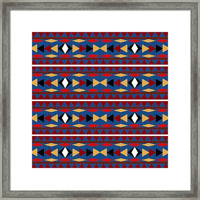 Aztec Blue Pattern Framed Print