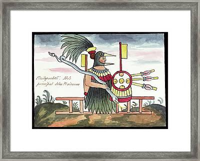 Aztec Deity Huitzilopochtli Framed Print by Library Of Congress