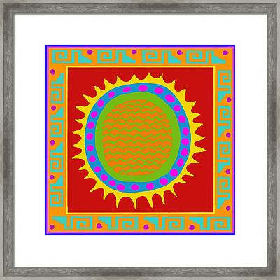 Aztec Del Sol Framed Print by Vagabond Folk Art - Virginia Vivier
