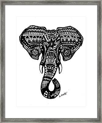 Aztec Elephant Head Framed Print
