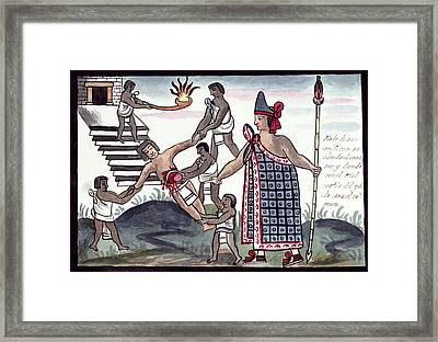 Aztec Human Sacrifice Framed Print by Library Of Congress