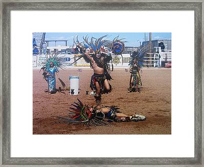 Aztec Indian Performer O'odham Tash Indian Rodeo Casa Grande Arizona 2006 Framed Print by David Lee Guss