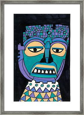 Aztec Mask Framed Print by Don Koester