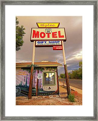 Aztec Motel On Route 66 Framed Print by Ron Regalado