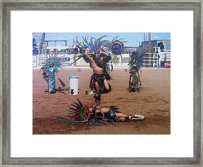 Aztec Performers O'odham Tash Rodeo Casa Grande Arizona 2006 Framed Print by David Lee Guss