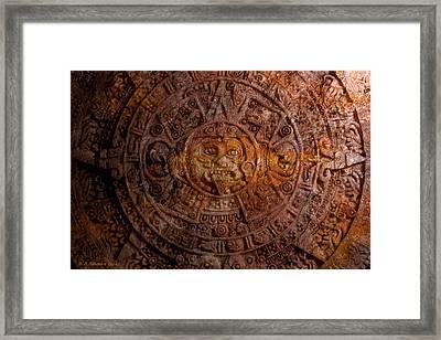 Aztec Sun Stone Framed Print